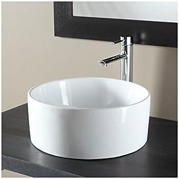 Vasque à poser ronde en céramique blanc: Amazon.fr: Cuisine & Maison