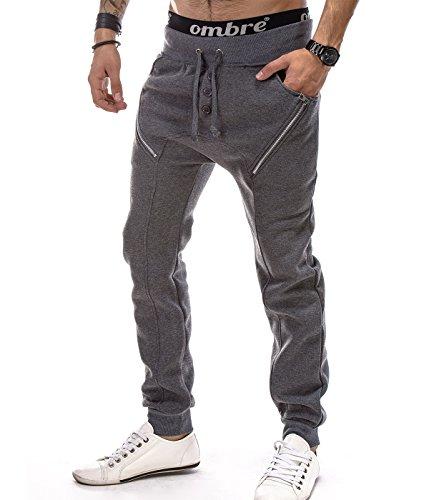 BetterStylz MilfordBZ Jogginghose Harem Zip Sweatpants Slim Fit Jogger Fitness Crotch Trainingshose 3 Farben (M-XXL) (S, Dunkel Grau Melange)