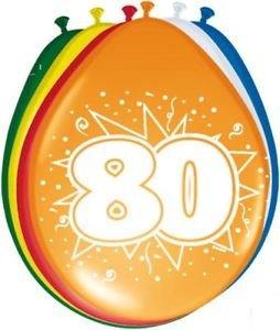 80 Geburtstag Deko Luftballon Ballons mit Zahl 80 Farbmix Dekoration zum 80er Geburtstag Party oder andere Anlässe 8 Stück
