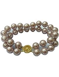 Schmuckwilly Muschelkernperlen Perlenarmband Perlen - Muschelkernperlen Armband 2-reihig violett Hochwertige mb0049
