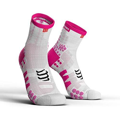 Compressport Pro Racing V3.0 Run High Socks White/Pink Schuhgröße T2   39-41 2018 Laufsocken - Racing Herren-socken