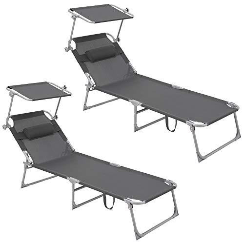SONGMICS Sonnenliege, 2er Set, Liegestuhl, bis 250 kg belastbar, 193 x 63 x 32 cm, mit Sonnendach und Verstellbarer Rückenlehne GCB19UV1-2
