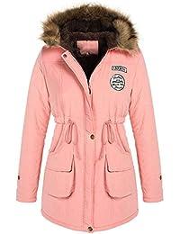 Minetom Damen Farben Mantel Jacke Trenchcoat Wintermantel Steppmantel  Winterparka Coat mit Pelzkapuze Outwear Mit Kapuze 86a6ad1819