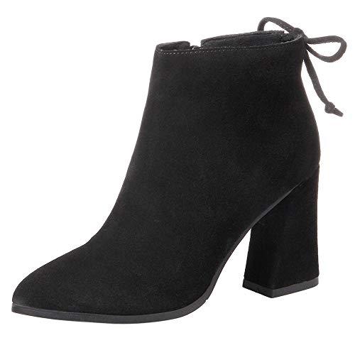nihiug Womens Stiefeletten Leichte Scrub Rindleder Multicolor Leder Rindsleder Spitz Schuhe,Black-40 - Schaffell-kragen