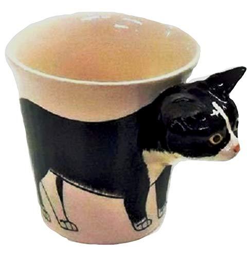 b2see Katze 3D Tasse Katzenmotiv Keramik Tier Tasse als Geschenk für Tierliebhaber Katze schwarz Weiss 14 x 15 x 10 cm