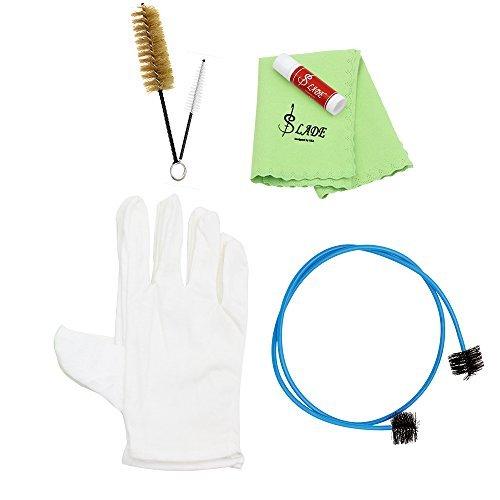 Andoer® Reinigungsset für Blechblas-Instrument, Trompete, Posaune, Tuba, Horn, Werkzeugset mit Reinigungstuch, Bürste, Korkfett, Handschuhen
