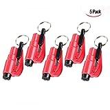 Xrten 5 Stücke Mini Notfallhammer,Mini Sicherheits Hammer Auto Hammer mit Gurtschneider,Rettungswerkzeug als Schlüsselanhänger