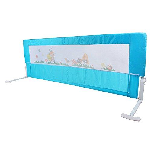 Bettgitter Bettschutzgitter Klappbar Tragbares Faltbar bettschutzgitter für Baby Kinder 180 cm/ 150 cm (Rosa/Blau) (Blau 180 cm)