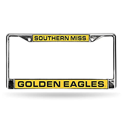 Rico NCAA Southern Mississippi Golden Eagles Laser Cut Chrome Plate Frame, Silver, 12