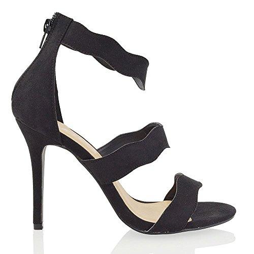 Essex Glam Sandalo Donna Tacco a Spillo Allacciatura Caviglia Nero Finto scamosciato