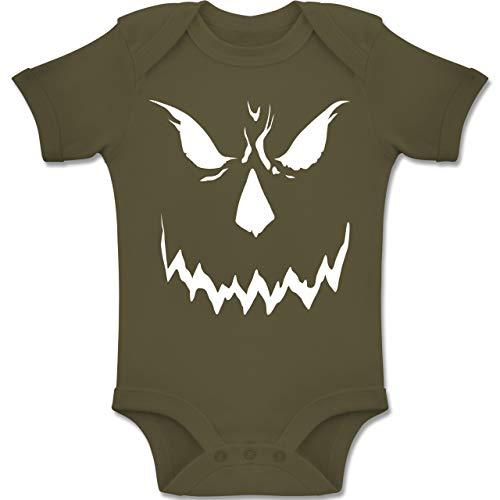 Shirtracer Anlässe Baby - Scary Smile Halloween Kostüm - 3-6 Monate - Olivgrün - BZ10 - Baby Body Kurzarm Jungen (Halloween Scary Kostüme Ideen)