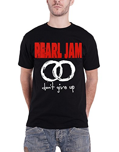 Pearl Jam T Shirt Don't Give Up Circles Band Logo offiziell Herren Nue Schwarz (Black Crew Pearl)