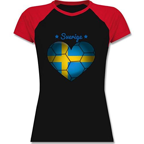 Shirtracer Handball - Handballherz Schweden - Zweifarbiges Baseballshirt/Raglan T-Shirt für Damen Schwarz/Rot