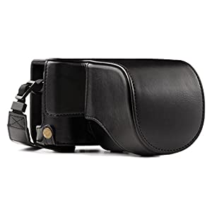MegaGear MG1001 Ever Ready Leather Case and Strap with Battery Access for Fujifilm X-A10 Camera - Black