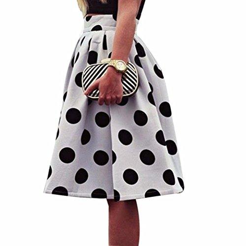 Rock Damen Sommer LHWY Frauen Bodycon Polka Dot Regenschirm Rock Retro Puff Röcke A-Linie High Waist Reißverschluss Hochzeit Kleid Elegant Knielang (S, Weiß)