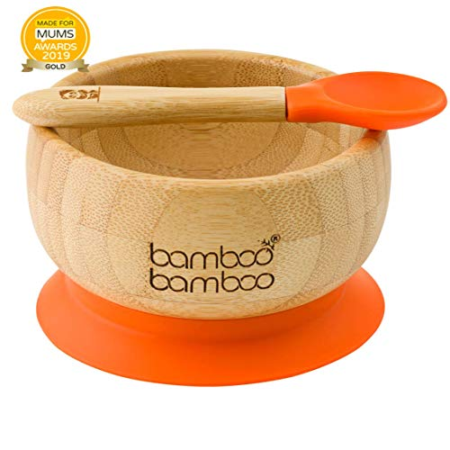 Set de Bowl adherente y cuchara para bebé en combinación, Bowl que no se despega de la mesa al comer, Bambú natural (Naranja)