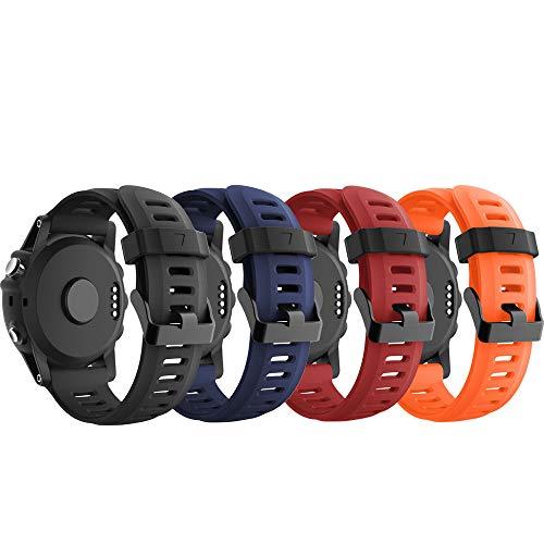 YaYuu Garmin Fenix 3 / Fenix 5X Sport Watch Armband, Silikon Sportarmband Uhr Band Strap Ersatzarmband Uhrenarmband mit Werkzeug für Garmin Fenix 3 / Fenix 3 HR GPS Smart Watch (B1,4Pack)