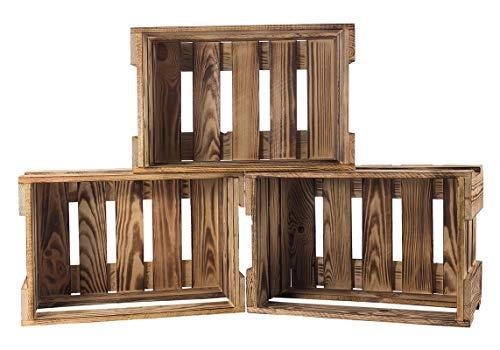 Kontorei® Neue geflammte/gebrannte Holzkiste 46cm x 30,5cm x 24cm 12er Set Weinkiste Geschenkiste Präsentkorb Obstkiste Box