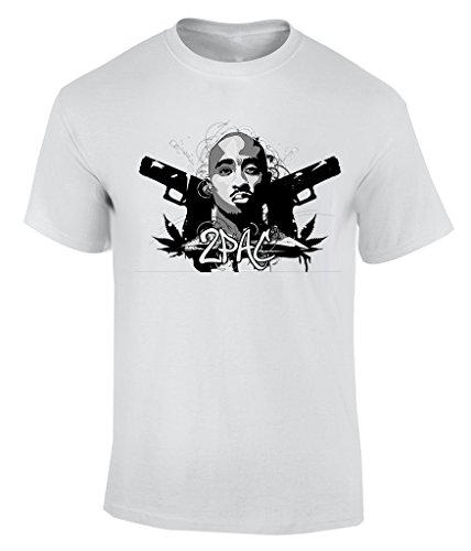 2Pac Drawing Guns And Weed T-Shirt Herren Weiß