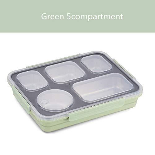 yylikehome Auslaufsichere Brotdose Thermo-Bento-Box mit Geschirr-Lebensmittelbehälter mit Fächern Für Studenten Büroangestellter Grün 5fach