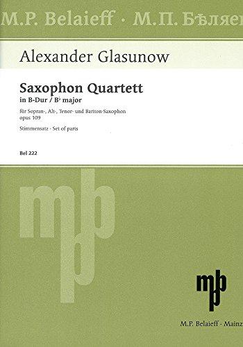 Saxophon Quartett B-Dur: op. 109. 4 Saxophone (SATBar). Stimmensatz. (State of Welfare)