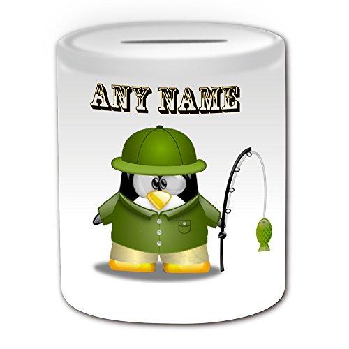 Personalisiertes Geschenk-Fisher in grün Spardose (Design Pinguin in Kostüm Thema, weiß)-alle Nachricht/Name auf Ihre einzigartige-Angeln