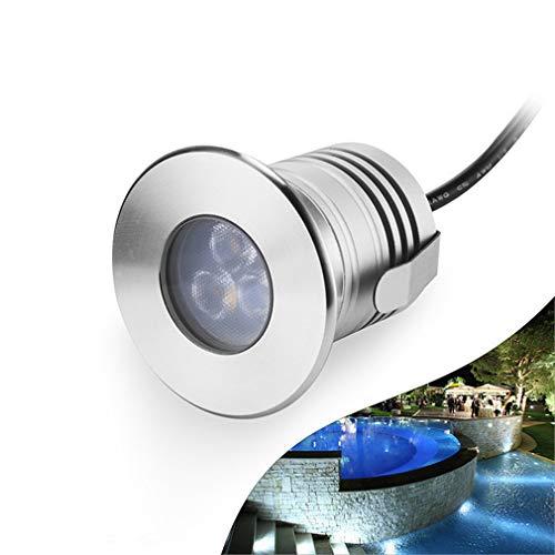 LHY LIGHT Swimming Pool Unterwasserleuchten 3W vertiefte LED-Wand-Licht 12V-24V DC IP68 wasserdichte Edelstahl für Inground Teiche Brunnen Boote,Warmwhite