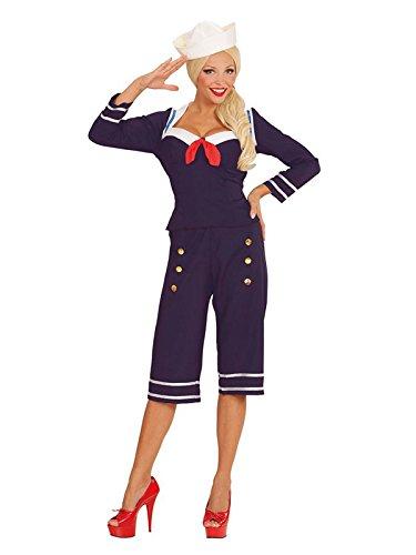 KULTFAKTOR GmbH 50er-Jahre Pin-up Matrosin Damenkostüm Sailor Girl Blau-Rot-Weiss M (50er Jahre Sailor Pin Up Kostüm)