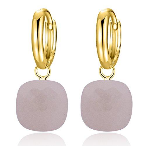 Metjakt, classici orecchini pendenti in argento sterling 925 massiccio, orecchini per donne, gioielli raffinati (Pink, Argento Sterling placcato oro giallo)