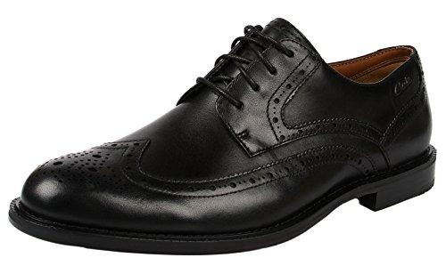 Clarks - Dorset Limit, Scarpe con lacci Richelieu da uomo, nero (black leather), 44.5