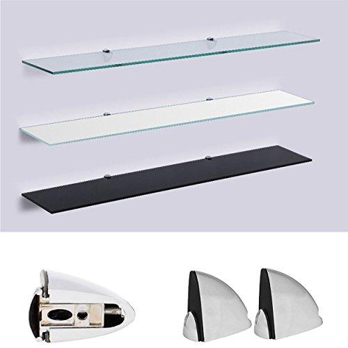 Lackiert Milchglas (Euro Tische - Glasregal Wandregal - 6mm Sicherheitsglas ✓ 6 Größen: 50, 60, 70, 80, 90, 100 cm ✓ 3 Farben: klar, schwarz, weiß | Regal aus Glas, Glasablage, Glasboden, Badregal inkl. Halterung)