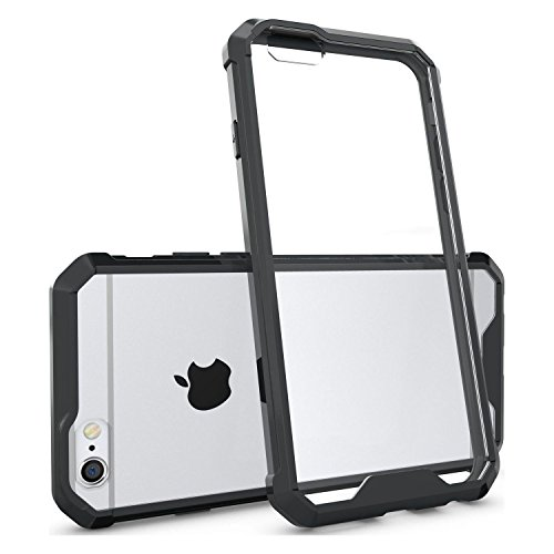 Cubix® Apple iPhone 6 Case Transparent Back Cover, Camera Protection, Soft tpu Bumpber with Anti Scratch Acrylic Hard Back Case Fusion Technology - Black Transparent  available at amazon for Rs.699