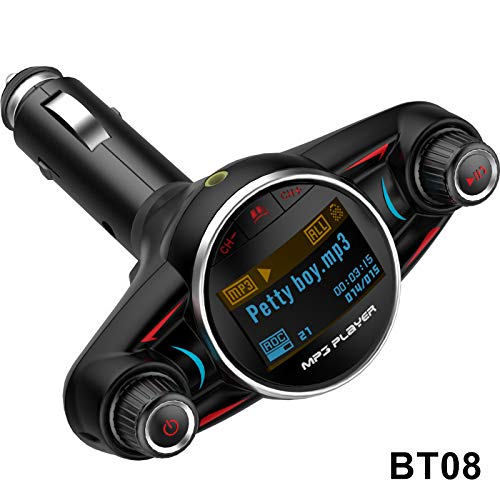 Alexsix Hands-Free Bluetooth Car Kit FM Transmitter TF MP3 Player LCD Screen USB Charger Fm Hands Free Kit