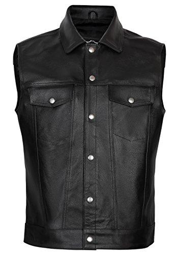 Juicy Trendz Hombre Chaleco de Cuero Para Chaqueta Motocicleta Biker Moto Leather Waistcoat