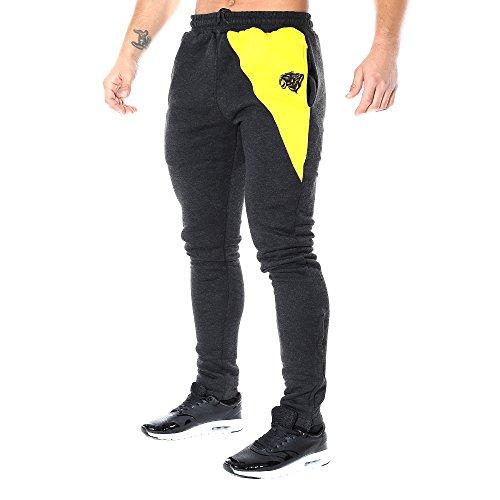 Smilodox Herren Sport Hosen Slim Fit Jogginghose, Größe:XL;Farbe:Anthrazit/Gelb (Männer Sport-slim-fit-hose Für)