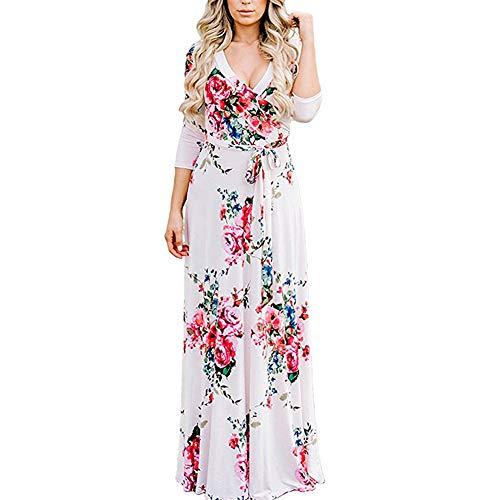 Langen, Weißen Maxi-kleid (Lover-Beauty Maxikleider Damen elegant Sommer Chiffon Boho Böhmisches Langes Maxi Kleid Strand kleidet Sommerkleid weiß XXL)
