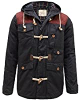 PARADIS COUTURE BRAVE SOUL MENS TWILL HOODED PADDED QUILTED POCKET ZIP DUFFLE COTTON JACKET COAT