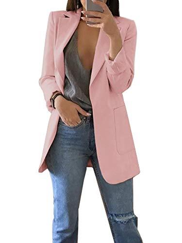ORANDESIGNE Donna Ufficio Casuale Tailleur Elegante Corto Blazer Carriera Tailleur Giacca A Rosa IT 44