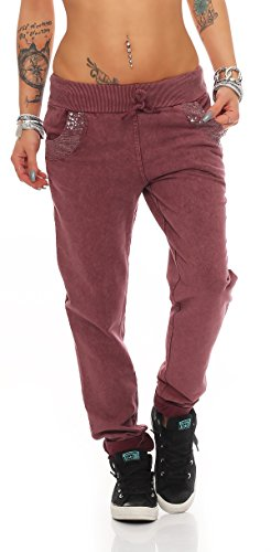 MODA ITALY DAMEN RELAXED HOSE SWEAT PANTS DAMENHOSE SWEATHOSE FREIZEITHOSE JOGGINGHOSE MIT PAILLETTEN BAGGY (Bordeux)