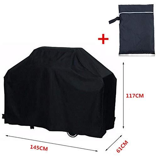 Ddmlj copertura per barbecue impermeabile nera accessori per barbecue per uso pesante copertura per griglia copertura antipolvere per pioggia copertura carbonella a pioggia-145x61x117cm