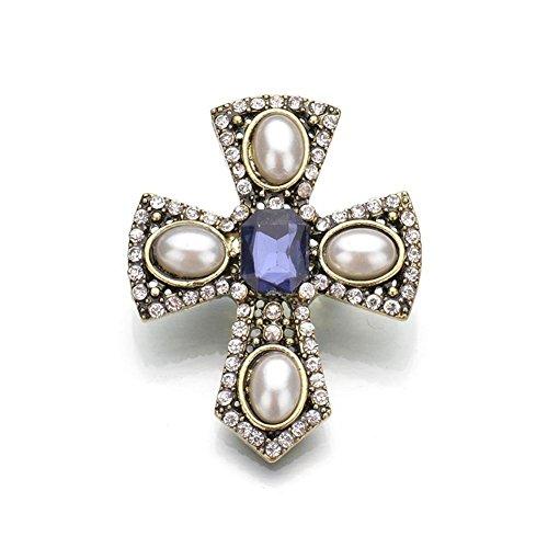 Vintage Spilla perla Faux chiusura Diamond Ladies , silver