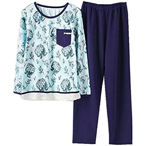 LIUDOU Simplicidad de otoño a rayas de algodón señoras pijama de manga larga con cabeza hogar Moda Casual algodón ropa trajes , l