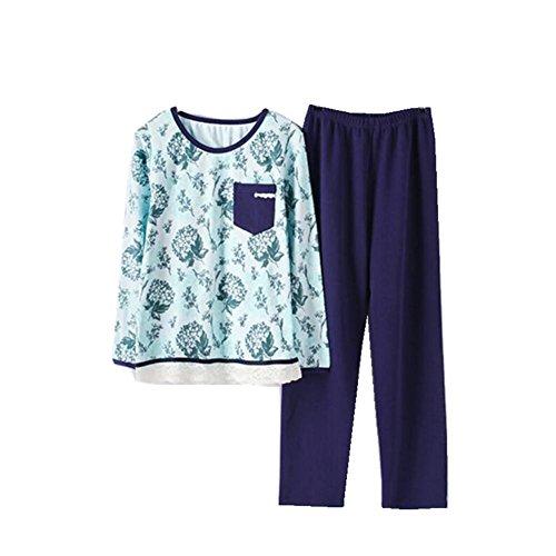 Semplicitš€ di autunno a strisce pigiama di cotone donna manica
