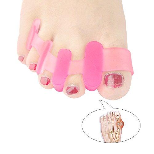 welnove Zehentrenner für Ballenzehen Hallux Valgus Fuß Spacer Schmerzlinderung für Männer und Frauen (Ohrstecker) Pink (Socke Leichtes Radfahren)