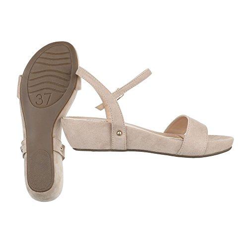 Ital-Design Komfortsandalen Damenschuhe Römersandalen Keilabsatz/Wedge Moderne Schnalle Sandalen/Sandaletten Beige