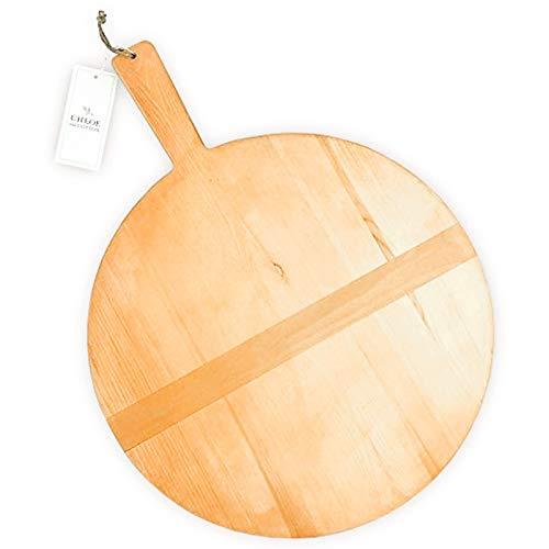 Tabla de pan de madera de pino redonda grande de Chloe and Cotton, 43 cm de diámetro, para colgar en la encimera de la cocina, bandeja de madera, para servir, charcuterie, tabla de queso