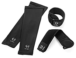 4-Pack Sport Tennis Elbow Brace by Flex Force - 2x Elbow Braces 2x Compression Arm Sleeves - Golfer s Elbow Brace for Pain Relief - Elbow Support Strap For Weightlifting Baseball Basketball Golf