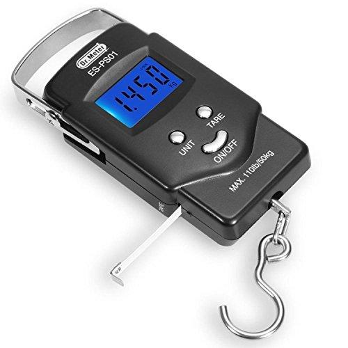Preisvergleich Produktbild [Hintergrundbeleuchtetes LCD Display] Dr.Meter PS01 110 lb/50 kg Elektronische Waage Digital Fischen Paket Gepäckstücke Aufhänge-Haken Waage mit Maßband, 2 AAA Batterien enthalten