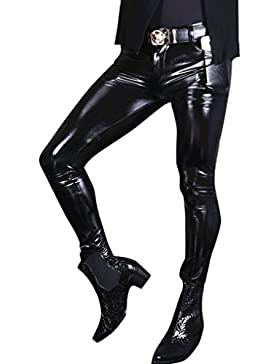 LinvMe Herren Glossy Gothic PVC Hose Elastische Legging Oberschenkel Hosen