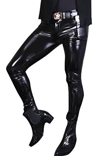 LinvMe Herren Glossy Gothic PVC Hose Elastische Legging Oberschenkel Hosen XXL -
